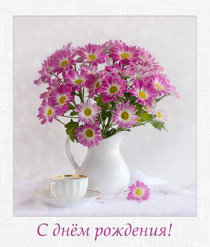 Открытка с днем рождения хризантема