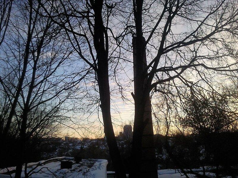 закат, Брянск, многоэтажки