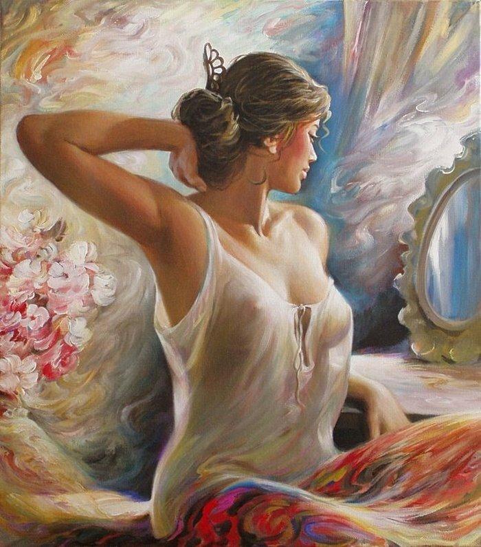 Женщина – прекрасная картина, женщина как музыка звучит.  Художник Аркадий Острицкий