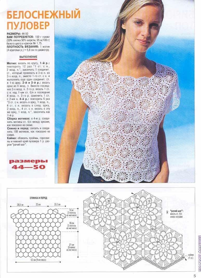 Вязание крючком блузы с описанием