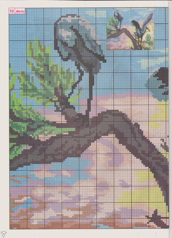 Скачать бесплатную схему вышивки крестом птицы аист без регистрации.