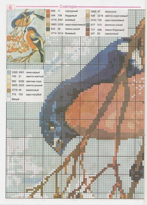 Бесплатная схема как вышивать крестиком птиц снегирей.