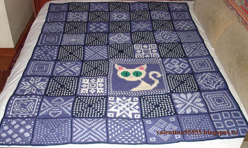Вязание плед из квадратов спицами 29