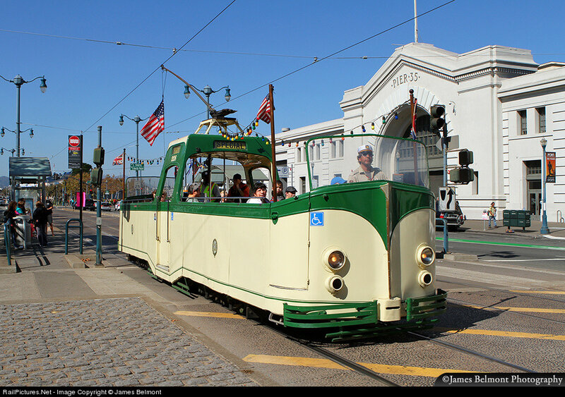 Car 228, the 'Boat Tram', built by English Electric for Blackpool Tramways in 1934. San Francisco, California, USA, October 17, 2013