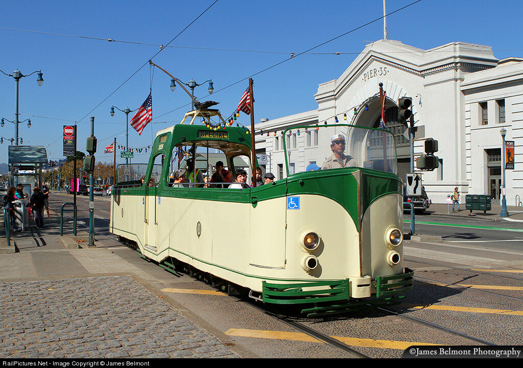 "Car 228, the ""Boat Tram"", built by English Electric for Blackpool Tramways in 1934. San Francisco, California, USA, October 17, 2013"