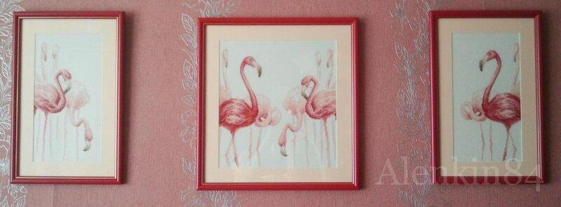 Девочки все привет.  Бегу показать вам оформленных фламинго.  Оформляла свекровь, т.к. недавно у нее был ДР и мы с...