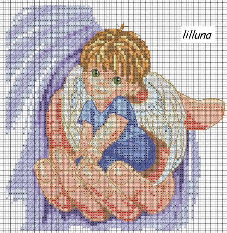 """Схема вышивки  """"Ангел в руке """": таблица цветов."""