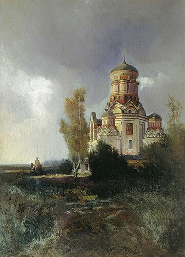 Дьяковская церковь на пейзажном этюде Н. Маковского.