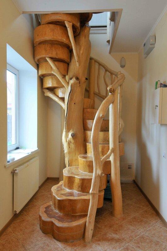 Винтовая лестница из дерева своими руками фото