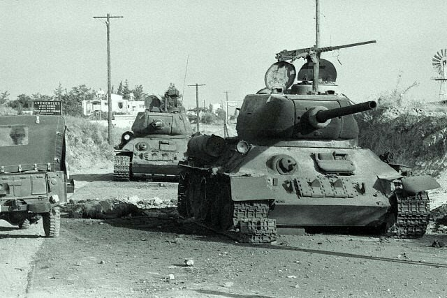 Turkish Tanks with Dead Soldier on Ground