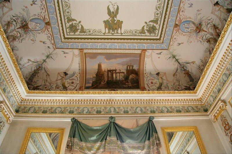 Павловский дворец, Будуар, роспись стен и потолка