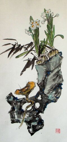 2014 01 08 Нарциссы, камень и гриб личжи 70х33 см.JPG