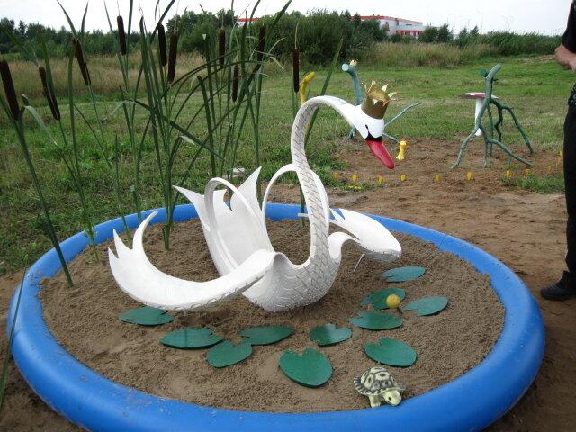Лебедь из покрышки пошаговое фото