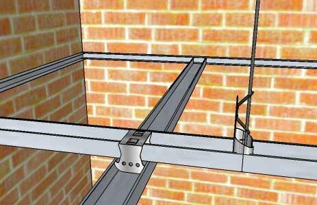 Схема установки профиля под многоуровневый потолок.