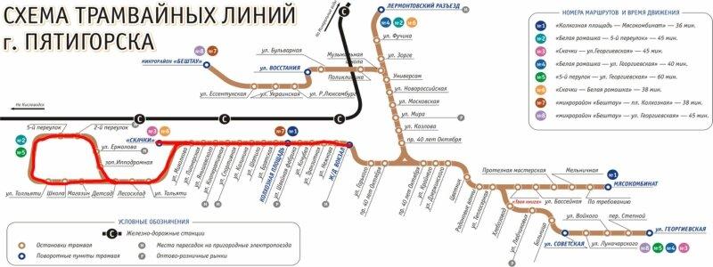 Схема движения трамваев в городе Пятигорске.  Просмотров: 632 Добавил: JMENKA127 Рейтинг: 3.7/3.  16:25.