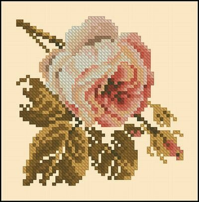 Marija. вышивки.  Lanarte_34529-Gentle_Rose.zip.  Схема вышивка крестом. набора.