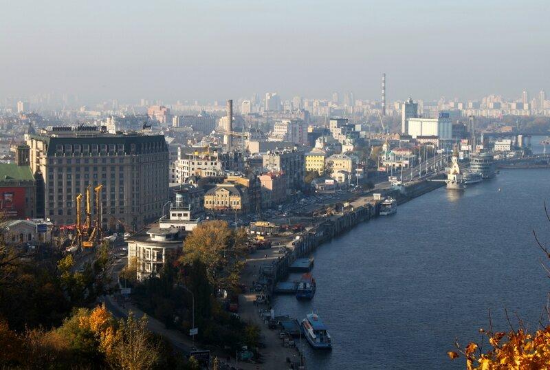 Киевский речной порт и Набережно-Крещатицкая