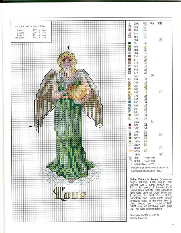 Звездный ангел схема вышивки крестом 64