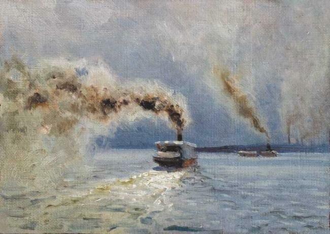 Николай Александрович Сергеев. «На Волге», 1901 г. холст на картоне, масло