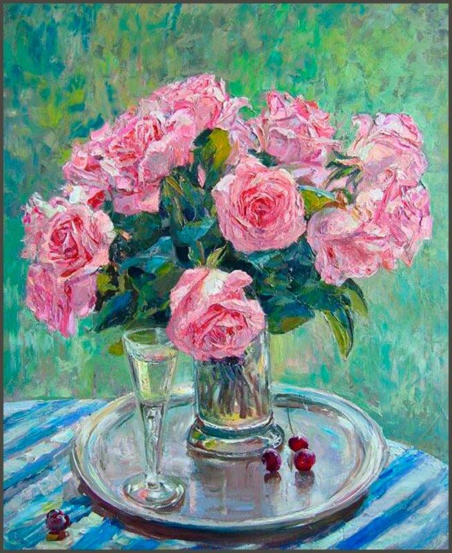 """Размеры: 155 x 190 крестов.  Картинки.  Автор схемы  """"Букет роз """" ."""