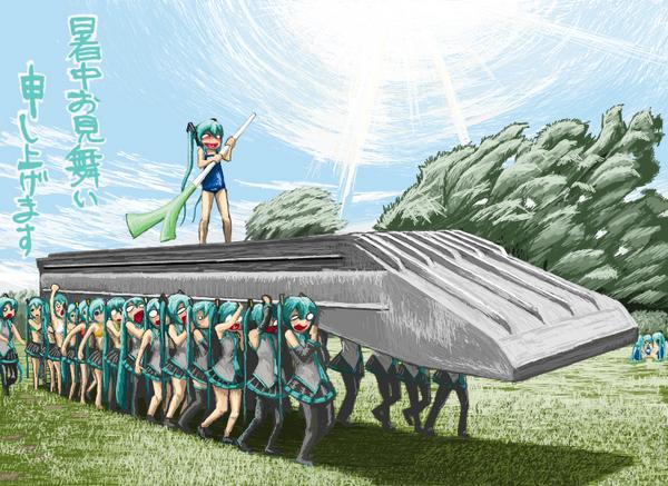 Хатсунэ Мику ,Supercell, Hatsune Miku, Vocaloids, вокалоиды, арт, японский досвидос, RxJx