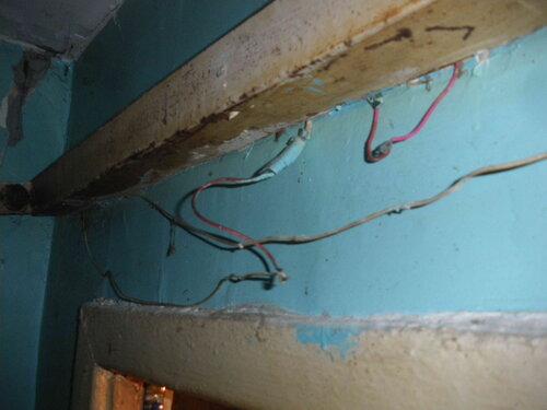 Фото 4. Люминесцентный светильник ванной комнаты. Вид снизу. Из-под светильника выпали питающие провода с многочисленными вставками, скрутками и нарушениями изоляции.