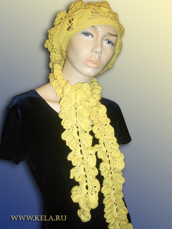 """Комплект  """"Жёлтые розы """" берет и шарф-боа Комплект  """"Жёлтые розы """" берет и шарф-боа, связаны крючком."""