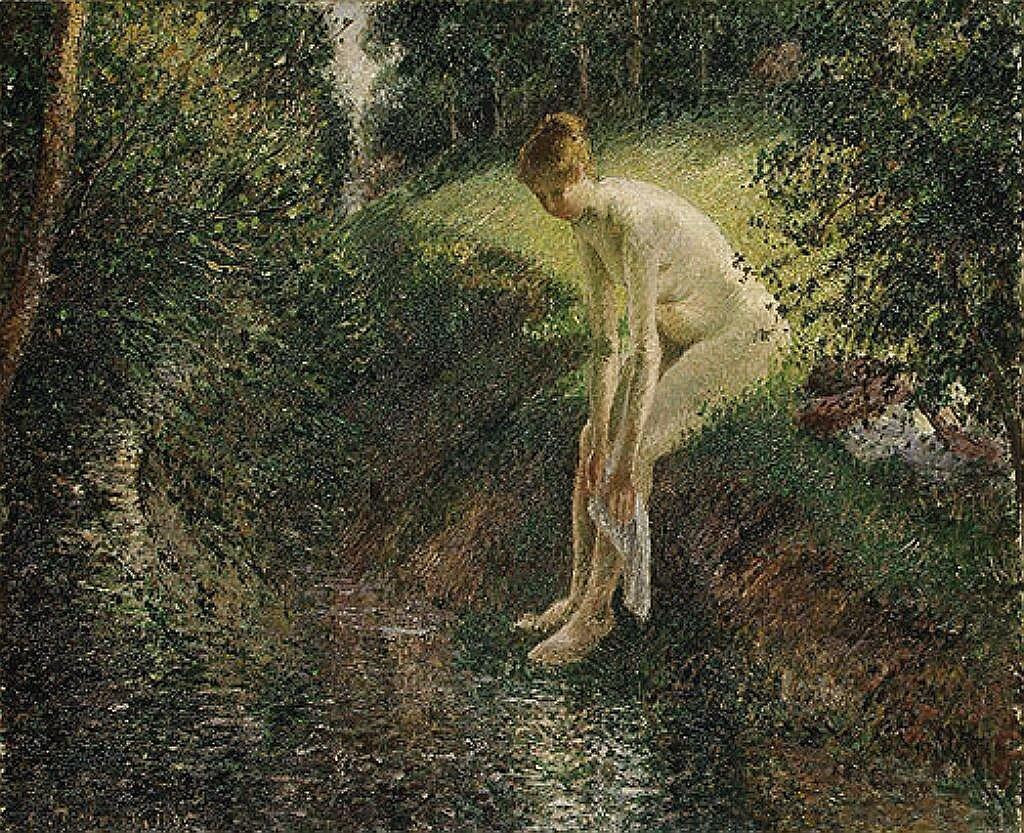 Pissarro, Camille, Bather in the Woods1895 Писсарро, Камиль, Купальщица в лесу.1895
