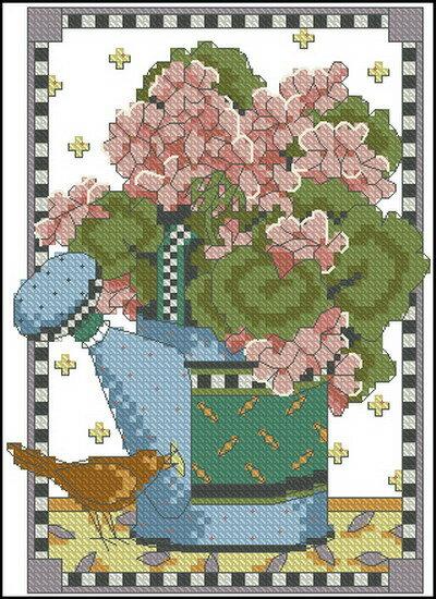 Описание: Схема для вышивки крестом из набора Dimensions 06939 Watering can geraniums в формате xsd. бесплатно. схема...
