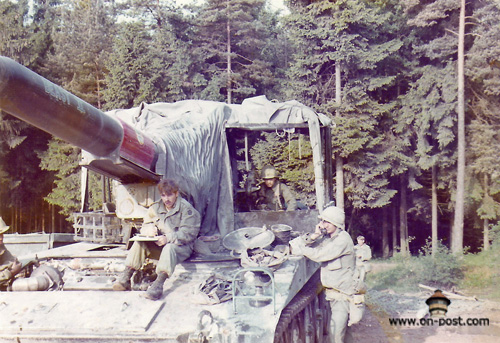 Little Joe Sanford doing an ESC, Mike Tucci on the TA 312, Cpl Monroe at the gunners station and Spc Brough in the rear