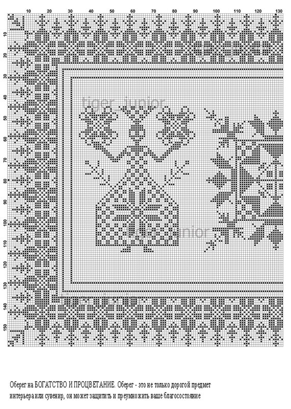 Перенабор. младшая.  Тигра.  Эта вышивка заявлена как оберег на богатство и процветание.  В центре символ дома - ромб.