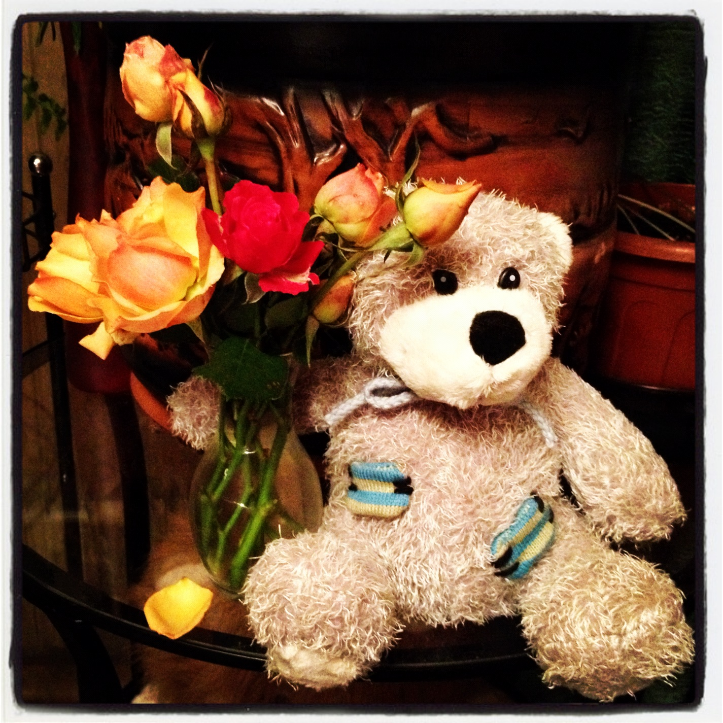 Cute Teddy Bear Pictures With Roses Roses And Teddy Bear