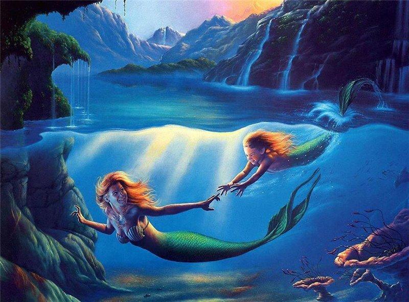 Открытки море и русалки