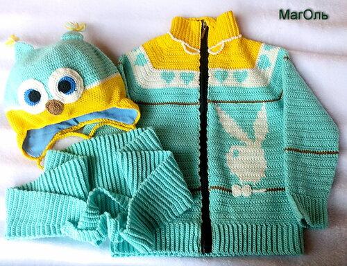 Tığişi tavşanlı bebek hırkası ve şapkası