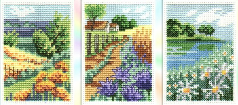 Схемы вышивки крестом - три сельских пейзажа.  Природа.  Дата.