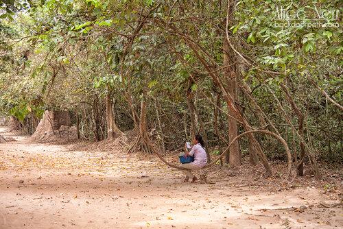 женщина сидит на лиане, ангкор, камбоджа