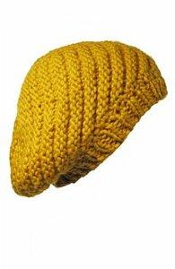 Он-лайн вязание жёлтого берета Wallis (косая вязка). Наши воплощения