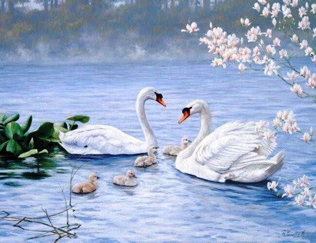 "Оригинал схемы вышивки  ""лебеди на озере "" ."