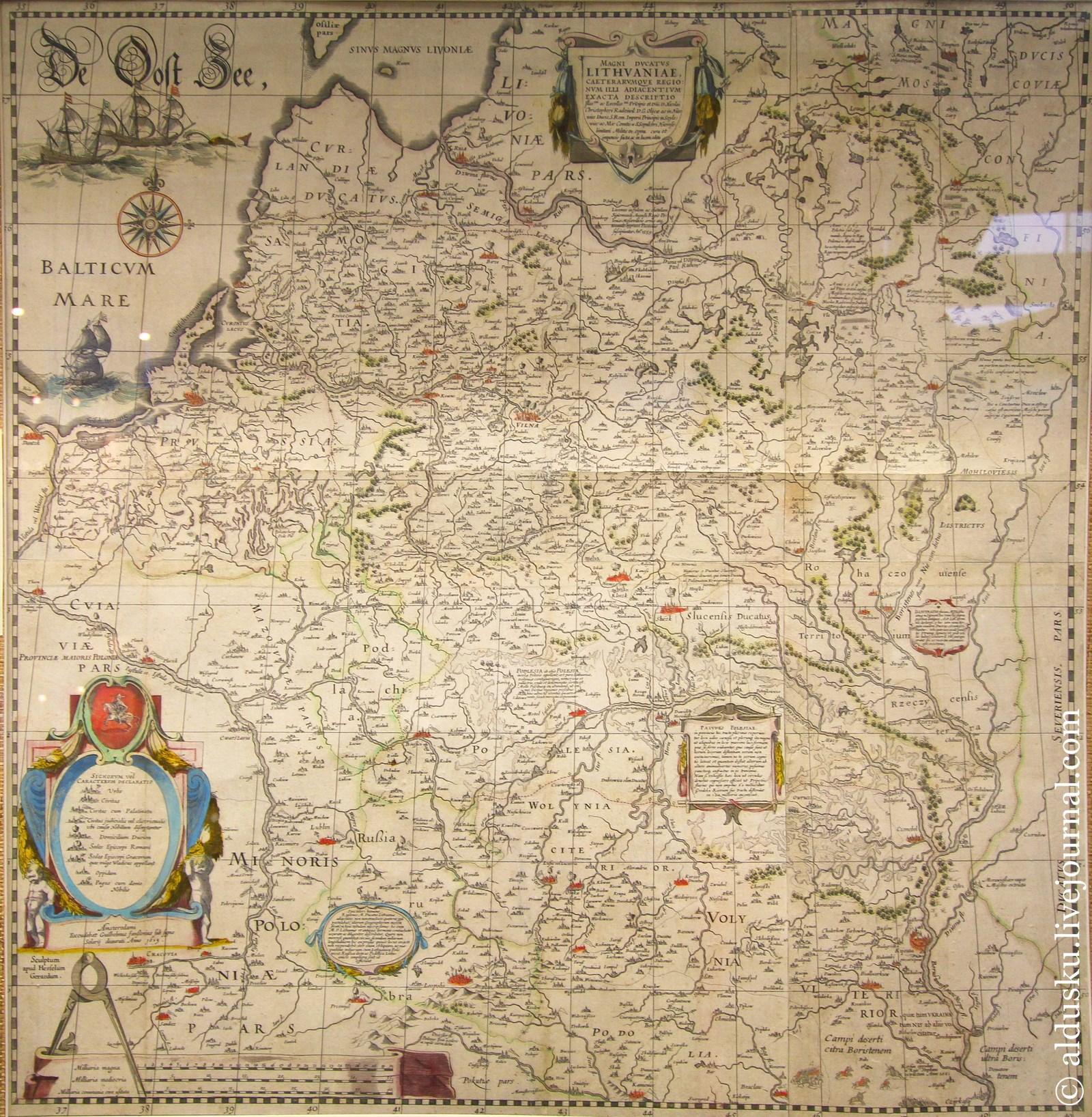 Magni Ducatus Lithuaniae, caeterarumque regio, num illi adiacentium exacta descriptio. Amsterodami: G. Janssonius, 1640. Карта великого княжества Литовского. Амстердам. 1640