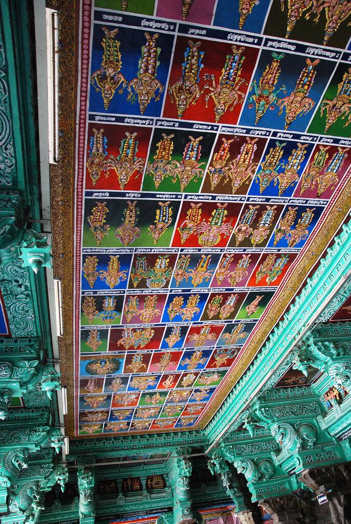 Роспись потолка в храме Минакши Сундарешвары