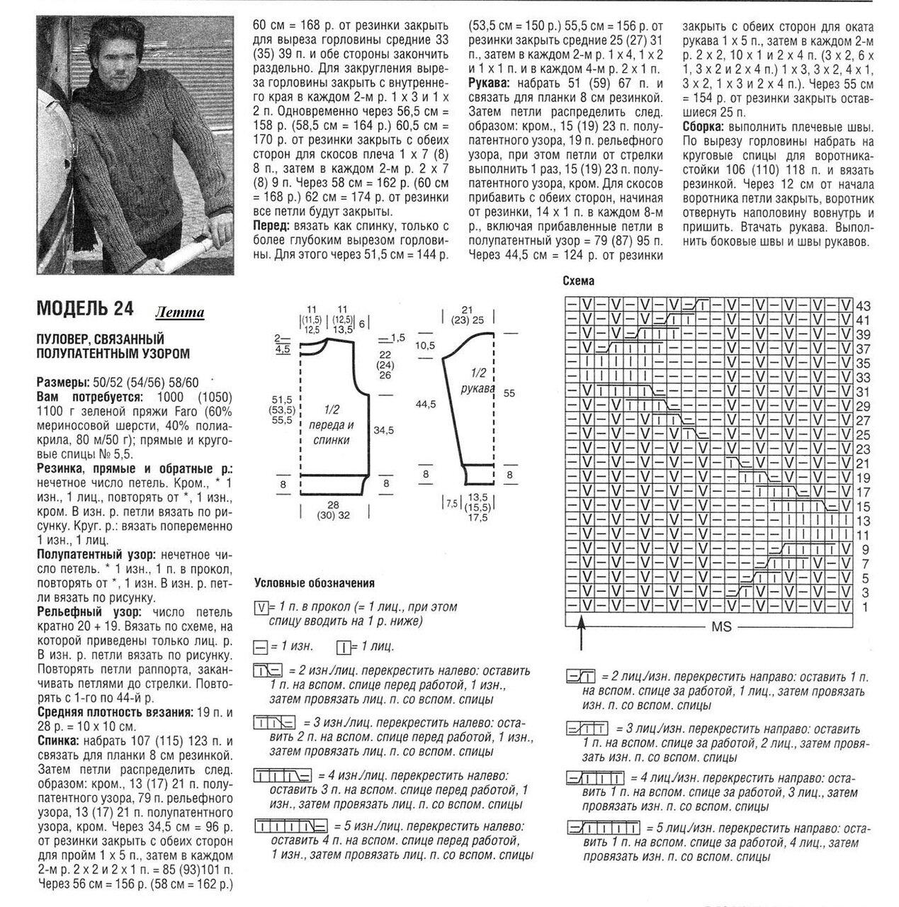Вязание мужских свитеров спицами схемы 45