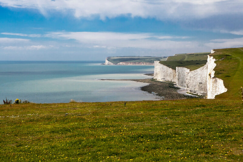 The Seven Sisters chalk cliffs between Seaford and Eastbourne. East Sussex