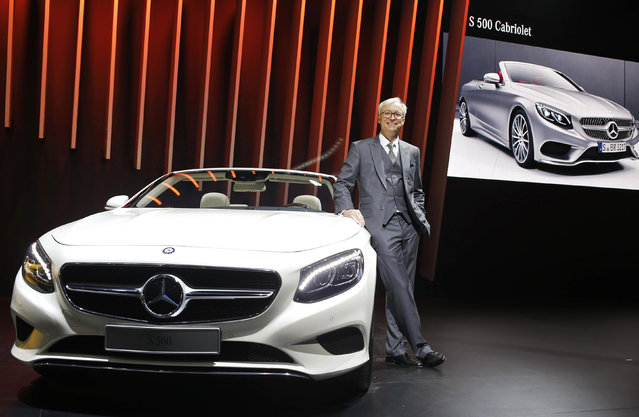 Roland Folger, Managing Director and CEO of Mercedez-Benz India, poses with the Mercedez S 500 conve