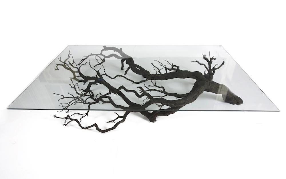 """The Tree Coffee Table,"" native wood, stainless steel and glass"