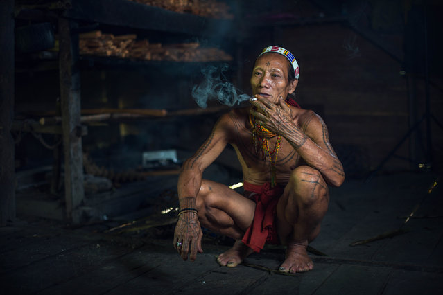A Mentawai warrior smokes in his home on July 19, 2014 on the Mentawai Islands, Indonesia. (Photo by