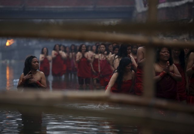 Devotees offer prayers before taking a holy bath in the Bagmati River at Pashupatinath Temple during