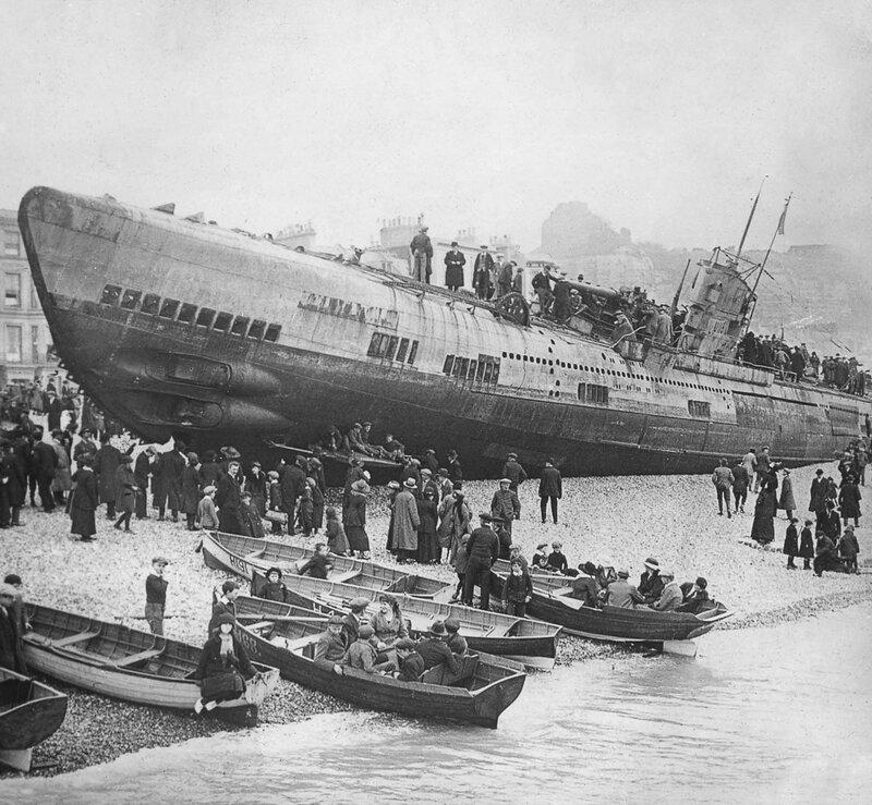 Beached German submarine, Hastings, UK