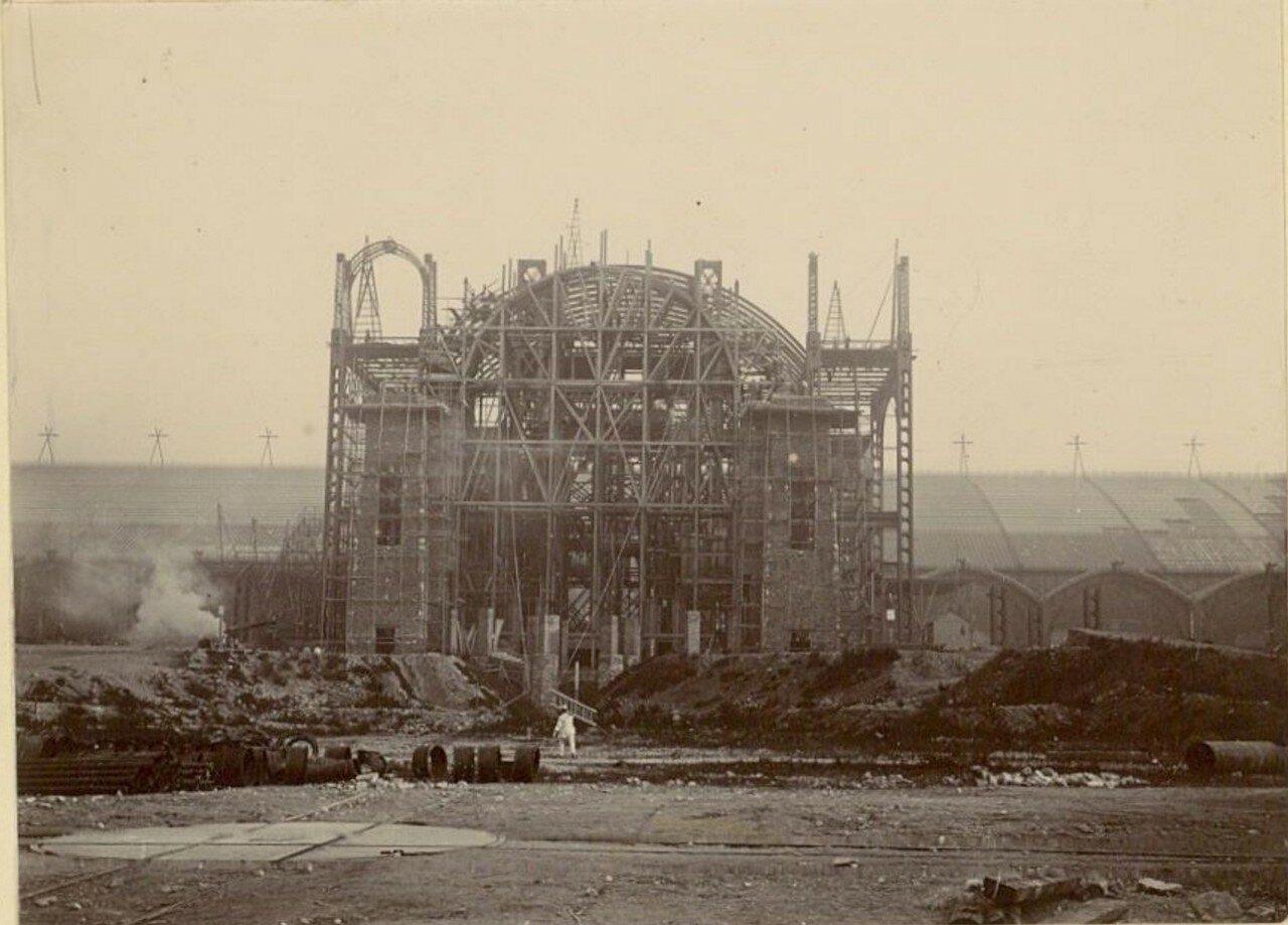 Строительство Дворца  Электричества (фасад)