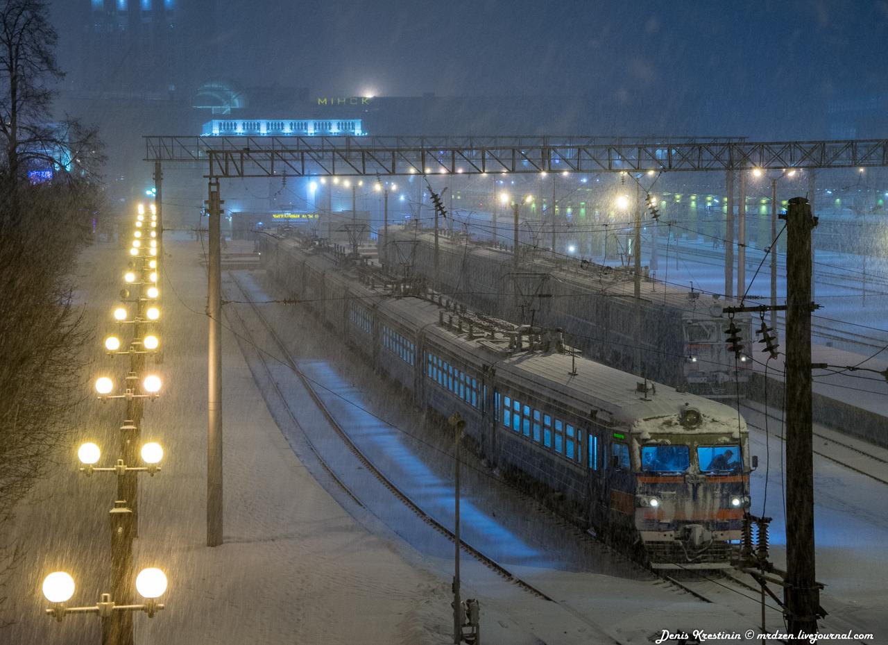 Снежный Минск. Железнодорожный вокзал