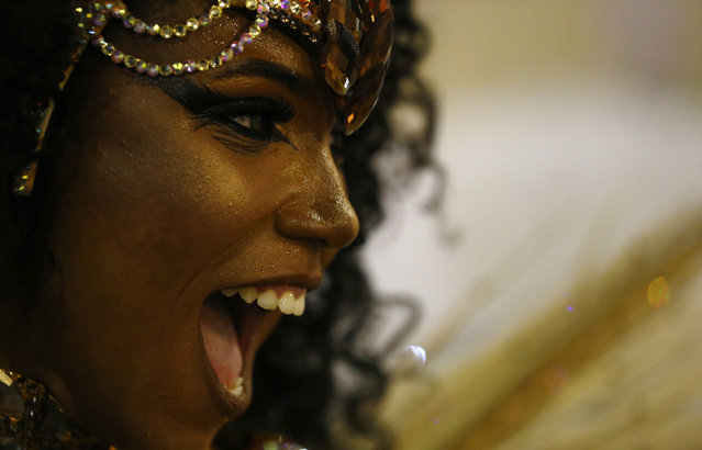 Mangueira samba school's Drum Queen Evelin performs during the carnival parade at the Sambadrom